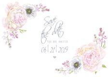 Peony anemone save the date. Vector wedding invitation save the date card with peony and anemone flowers on white. Romantic floral design. Can be used for vector illustration