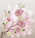 Peony branch. On a beautiful watercolor background Royalty Free Stock Photo