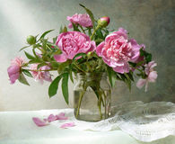Peony bunch. Beautiful peony bunch on the table royalty free stock image