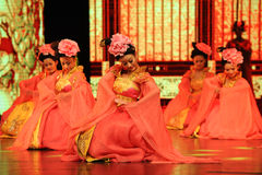 "Peony dance-Large scale scenarios show"" The road legend"". The drama about a Han Princess and king of Tibet Song Xan Gan Bbu and the story, across stock images"