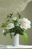 Peony and floks in white vase Royalty Free Stock Photos