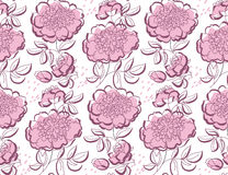 Peony floral sketch. spring flower vector Stock Photography