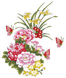 Peony flower and butterfly. Drawing of many beautiful flowers and butterflies Stock Photography