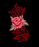 Peony flower embroidery with lace. Stock Photos