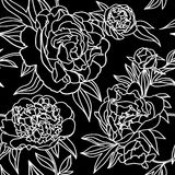 Peony flower lace seamless pattern. stock illustration