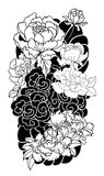 Peony flower and rose tattoo on cloud and wave background.Hand drawn Japanese tattoo style Royalty Free Stock Photos