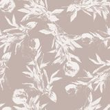 Peony flower silhouette seamless pattern. Hand drawn leaf silhouettes with scribble textures. Natural elements in pastel shades and colors. Vector grunge Royalty Free Stock Photography