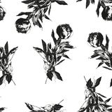 Peony flower silhouette seamless pattern. Hand drawn leaf silhouettes with scribble textures. Natural elements in pastel shades and colors. Vector grunge stock illustration