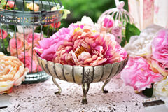 Peony flowers in antique silver bowl Royalty Free Stock Image
