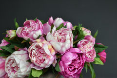 Peony flowers bouquet. Pink bouquet peony flowers Stock Image