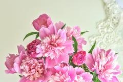 Peony flowers bouquet. Springtime fresh natural composition Stock Photos