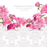 Peony flowers and delicate lace card. Springtime fresh natural composition Vector. Illustration Royalty Free Stock Photos