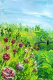 Peony flowers in the garden. In the background, the roof of the house and the forest are visible. Oil painting on canvas. Technique of palette knitting vector illustration