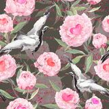 Peony flowers, hearts, dancing crane birds. Seamless floral pattern for Valentine day, wedding