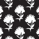 Peony flowers with leaves black white decoration Minimal repetition design. Blossom template. Nature background. Peony flowers with leaves black white stock illustration