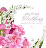 Peony flowers and lily of the valley bouquet. Wedding invitation or birthday template. Holiday background. Vector. Realistic illustration Stock Image