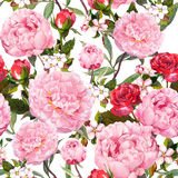 Peony flowers, red roses and sakura. Seamless floral background. Watercolor Stock Photo