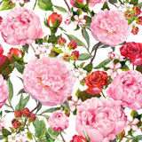Peony flowers, red roses, sakura. Seamless floral background. Watercolor Stock Photography