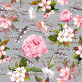 Peony flowers, sakura, feathers. Vintage seamless floral pattern with hand written letter for fashion design. Watercolor Royalty Free Stock Photography