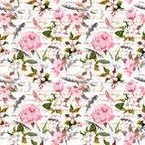 Peony flowers, sakura, feathers. Vintage seamless floral pattern with hand written letter. Watercolor Royalty Free Stock Image