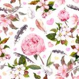 Peony flowers, sakura, feathers. Vintage seamless floral pattern. Watercolor Royalty Free Stock Photos