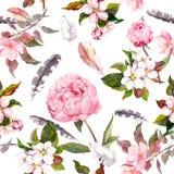 Peony flowers, sakura, feathers. Vintage seamless floral pattern. Watercolor Stock Image