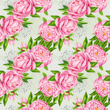 Peony flowers seamless pattern background. Tender pink flowers. Wedding design. Watercolor illustration Stock Photo