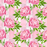 Peony flowers seamless pattern background. Tender pink flowers. Wedding design. Watercolor illustration Stock Images