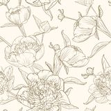 Peony flowers seamless pattern brown beige sepia. Peony flowers seamless pattern texture. Brown sepia outline on beige background. Blooming spring summer flowers vector illustration