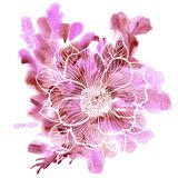 Peony flowers on a watercolor background. Decorative floral illustration of peony flower on a watercolor background stock illustration
