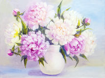 Peony flowers in a white vase Stock Image