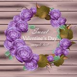Peony flowers wreath Vector. Ultra violet floral round frame. Valentine day cards. wooden texture background. Peony flowers wreath Vector illustration. Ultra Royalty Free Illustration