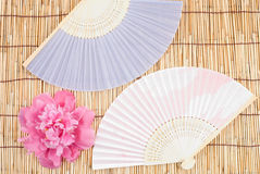 Peony and folding fan Stock Photo