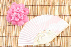 Peony and folding fan Stock Images