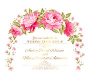Peony garland. Peony garland for holiday card. Vector illustration Royalty Free Stock Photos