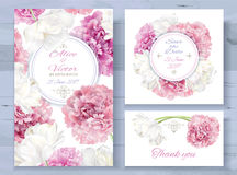 Peony invitations set. Vector wedding invitations set with pink peony and white tulip flowers on white background. Romantic tender floral design for wedding Royalty Free Stock Photo