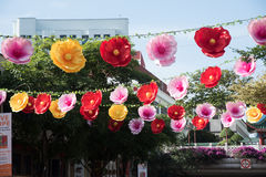 Peony lanterns decorations in chinatown Royalty Free Stock Photography