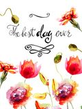 Peony and Orchid flowers with title the best day ever. Template for greeting card with calligraphy, watercolor illustration Stock Photos