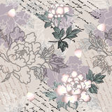 Peony pattern with script Stock Photography