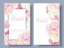 Peony pink banners. Vector botanical banners with pink peony and white hydrangea flowers. Romantic design for natural cosmetics, perfume, women products. Can be Stock Images