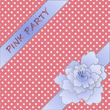 Peony ribbon with girly background Royalty Free Stock Images