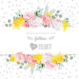 Peony, rose, narcissus, pink flowers and decorative eucaliptus leaves vector design card Stock Images