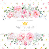 Peony, rose, orchid, camellia, pink flowers and decorative eucaliptus leaves vector design card Stock Photography