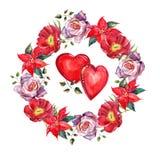 Peony, rose, poinsettia  flowers wreath , heart watercolor Stock Image