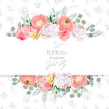 Peony, rose, ranunculus, pink flowers and decorative eucaliptus leaves vector design card. Delicate grey floral texture background. All elements are isolated royalty free illustration