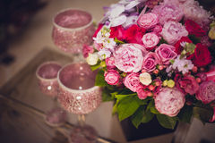 Peony and roses bright pink flowers bouquet Royalty Free Stock Images
