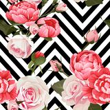 Peony and roses vector seamless pattern floral texture on a black and white chevron background vector illustration
