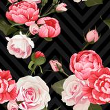 Peony and roses vector seamless pattern floral texture on a dark chevron background. S stock illustration