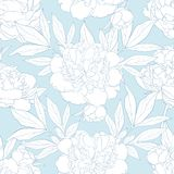 Peony seamless pattern in white and blue colors. Royalty Free Stock Photo