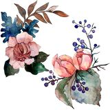 Peony and succulent bouquet floral flower. Watercolor background set. Isolated bouquet illustration element. Peony and succulent bouquet floral botanical flower stock illustration